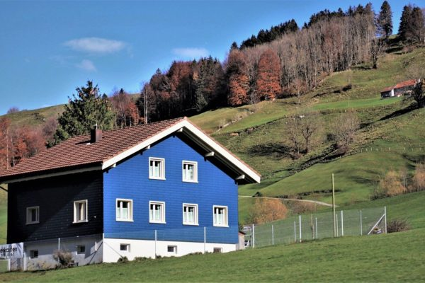 blue house, cottage, mountain