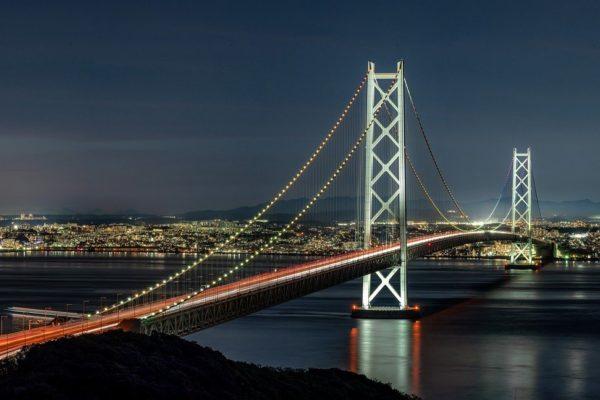 night panorama, the akashi-kaikyo bridge, suspension bridge
